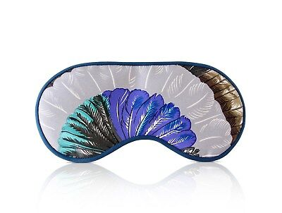 Hermes Sleep Eye Mask Multicolor Silk Petite h Gray Feather Motif