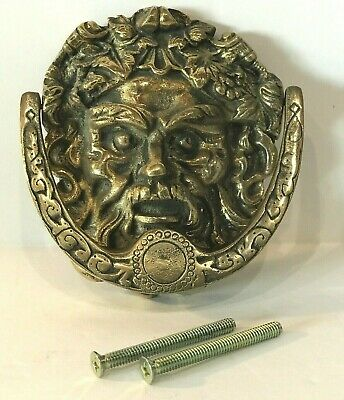 Vintage Brass Bacchus Dionysus Greek Roman Head Door Knocker With Screws