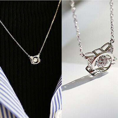 Women Zircon Cat Movable Pendant Necklace Girls Clavicle Chain Gift F