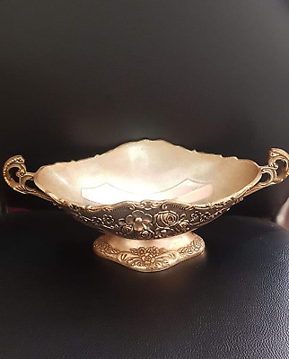 Bowl Brass Candy Dish Vintage Solid Etched Pedestal Large Gift Decor Embossed V