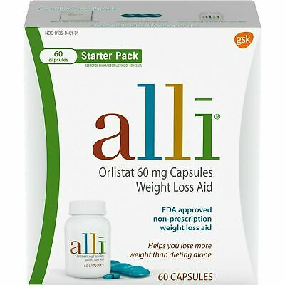 Alli Starter Pack 60 Capsules Orlistat 60mg Weight Loss Aid Exp 03/2021