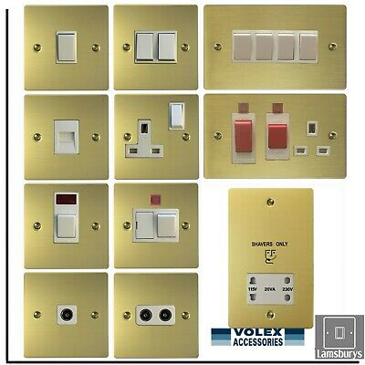 Volex Flat Brushed Brass Light Switches and Electrical Sockets White Insert