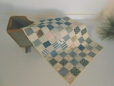 Antique Authentic Doll Quilt Early Textile Blue Calico NOT a cut down AAFA