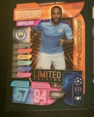 Match Attax 2019/20 Raheem Sterling Bronze Limited Edition Le7B Mint