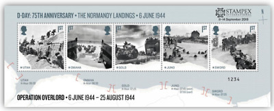 2019 Autumn Stampex D-Day 75Th Miniature Sheet With Overprint *Limited Edition*