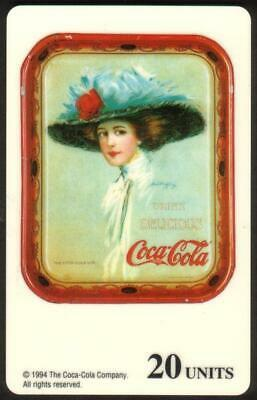 20u Coke: 1911 Coca-Cola Service Tray: Woman With Large Blue Hat Phone Card