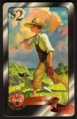 Coca-Cola '96 $2. Boy With Fishing Pole. Coke Card #34 of 48 Gold Ed. Phone Card