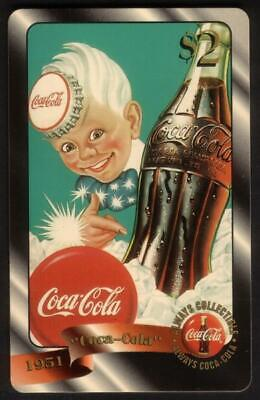 Coca-Cola '96 $2. Boy Pointing To Coke Bottle. Card #48 of 48 Gold Phone Card