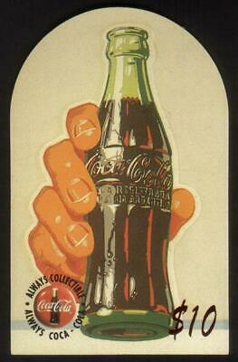 Coca-Cola '95 $10. Top-Rounded Die-Cut: Hand Holding Coke Bottle Phone Card