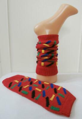 Vintage 1970's Red & Multi-Coloured Leg/ Ankle/ Boot Warmers