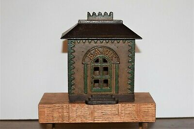 Antique Cast Iron Still Bank Building Original Paint Ca. 1800's