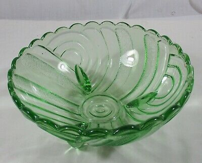 Large Vintage Green Depression Glass Crown Crystal Art Deco 3 Footed Bowl