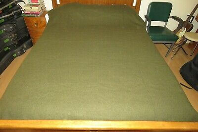 """Army Surplus Wool Blanket Military Olive Green 66"""" x 84"""" J.P. Stevens Contract"""