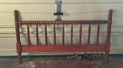 Antique Full Size Jenny Lind Spindle Spool Carved Wood Headboard/Footboard