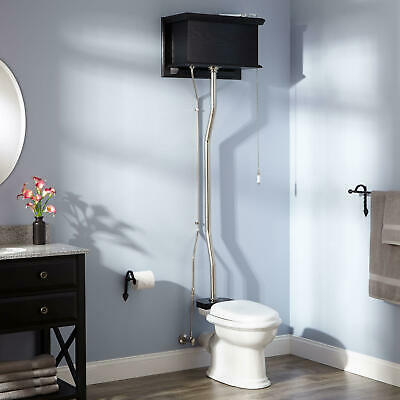 Black High Tank Pull Chain Water Closet REAR OUTLET Bowl Brushed Nickel Trim