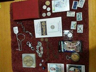 Junk Drawer Lot, Coins , Jewelry, Stamps, Silver Cards & more