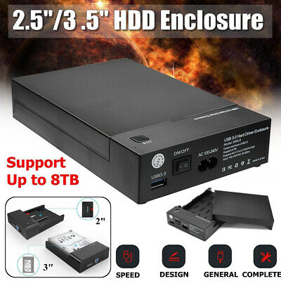 USB 3.0 Hard Drive Case Enclosure External Tool-free HDD Disk 2.5'' 3.5'' SATA