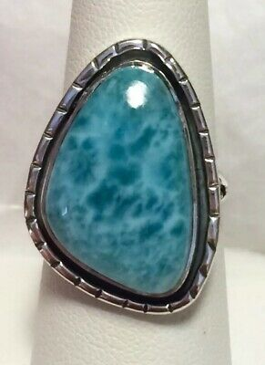 Stunning Genuine Dominican Republic Larimar Ring 925 Sterling Silver Size 8🌹