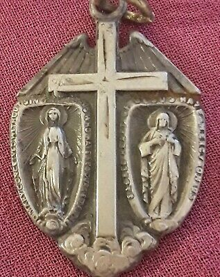 STERLING Silver Way Sacred Heart Virgin Mary Cross Miraculous Pendant 0Scrap Lot