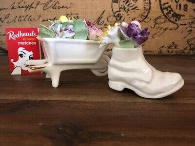 Vintage Royal Adderley Bone China Floral Boot and Wheelbarrow