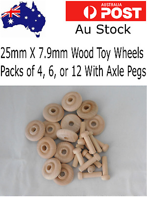 Wooden Toy wheels 4 - 6 or 12 wheel Packs  (TW1003) (25mm) x (7.9mm) & Axle Pegs