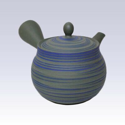 Tokoname Kyusu teapot - HAKUYO - Green Mud Blue Line 300cc/ml -Refreshing steel
