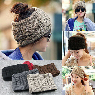 Women's Beanie Tail Messy Bun Hat Ponytail Stretchy Knit Winter Skull Head Band