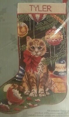 Tapestry Needlepoint Kit Tabby Cat Christmas Stocking VGC