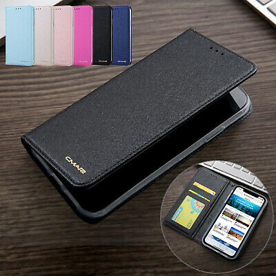 For iPhone 11 Pro Max Flip Silk Leather Card Slot Wallet Stand Slim Case Cover