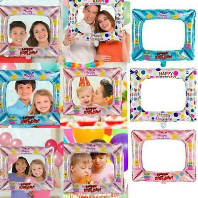 3x Foil Balloons Photo Frame Props Kids Happy Birthday Party Wall Decor Balloon