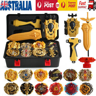12x Beyblade Gold Burst Portable Box Set - Spinning with Grip Launcher Case Toy