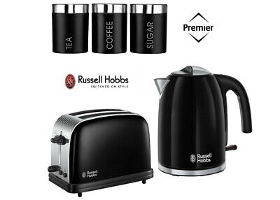 Black Russell Hobbs Colours Plus Kettle and Toaster Set With Canisters - New