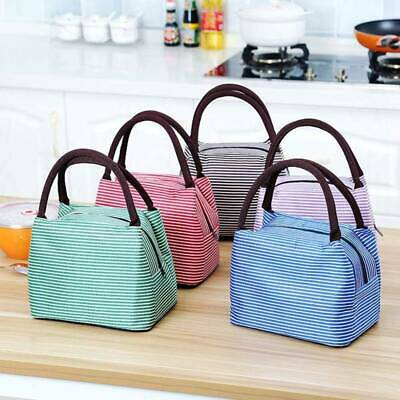 Lunch Sack Insulated Thermal Food Storage Bag Portable Stripe Working Bento Case