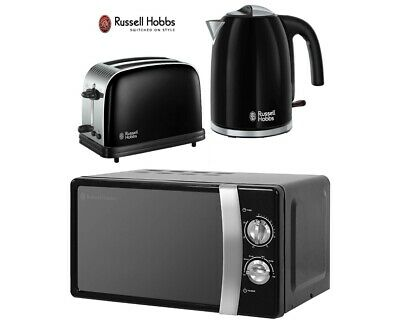 Black Russell Hobbs Colours Plus Kettle and Toaster Set and Microwave - New