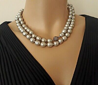 Vintage Opera Length Faux Pearl Sterling Silver Handknotted Necklace