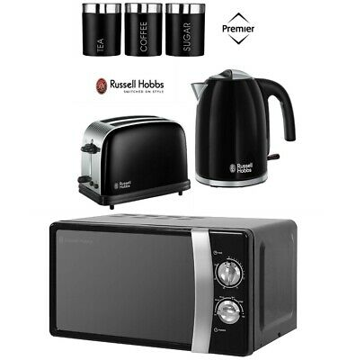 Russell Hobbs Colours Black Kettle and Toaster Set + Microwave With Canisters
