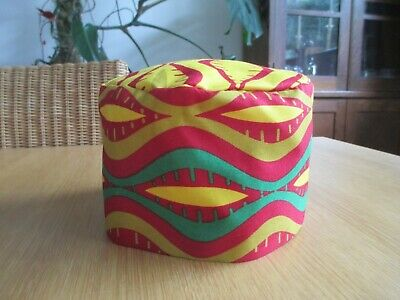 Unisex African Style Kufi Hat Red Green Gold  African Cotton  Rasta Ethnic