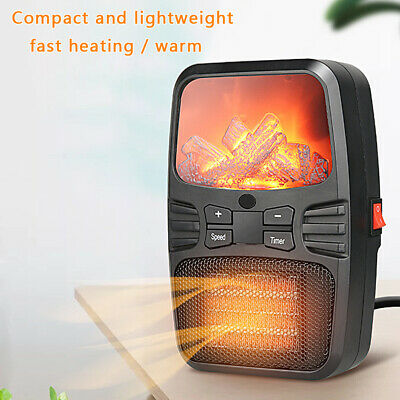 1000W Flame Effect Electric Fan Ceramic Heater Desktop Hot Portable Fire Stove