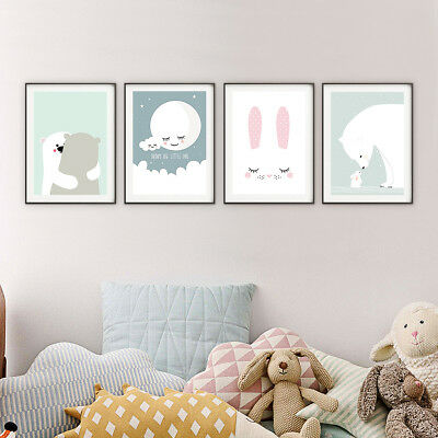 Lovely Animals Canvas Unframed Painting Wall Poster Picture Kids Room Decor CA