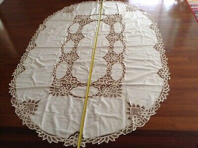 Vintage Cotton Tablecloth Large Rectangle/oval corners