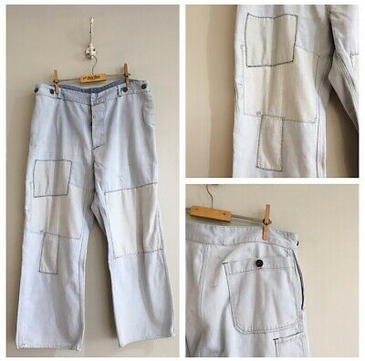 True Vintage European Patched Faded Cotton Chore Workwear Trousers Pants W36