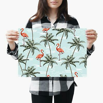 A3| Tropical Flamingo Palm Tree Summer Size A3 Poster Print Photo Art Gift #2468