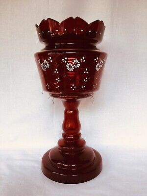 Antique Large Victorian Red Glass Luster Mantle Vase A/F