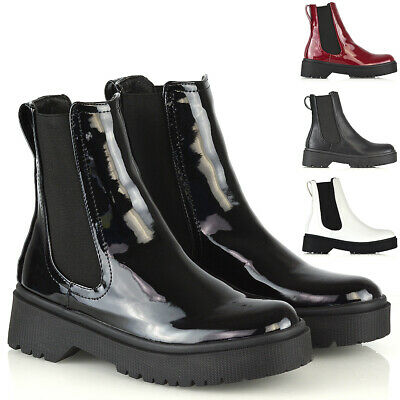 New Womens Chelsea Ankle Boots Ladies Elastic Gusset Chunky Sole Combat Shoes