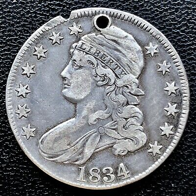 1834 Capped Bust Half Dollar 50c High Grade XF Det. #20619