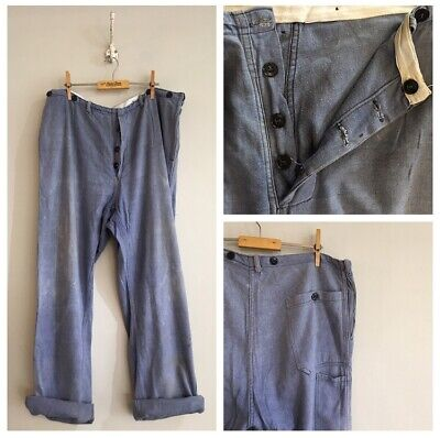 "True Vintage Faded Blue Cotton Chore Workwear Trousers Pants W38"" Large"