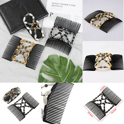 Hair Comb Clip Double Elastic Magic Tool Hairpin Styling Beaded