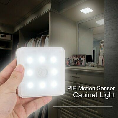 8 LED PIR Motion Sensor Wireless Rechargeable Night Light Lamp Wall Wardrobe