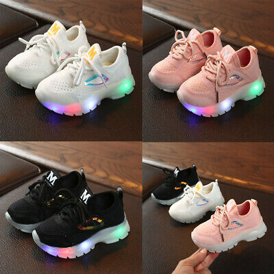 ToddlerBaby Girls Boys Breathable Mesh Led Luminous Sport Run Sneakers Shoes