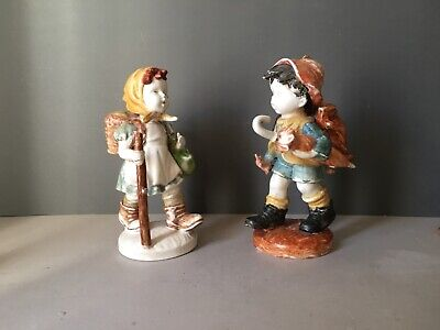 Art Deco German Porcelain Boy and Girl Figurines, Antique 1919 Bavarian Figurine